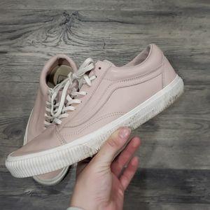 Vans Blush Pink Old Skool Leather Sneakers